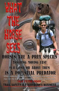 A horse sees a scary Hiker and may want to run away.