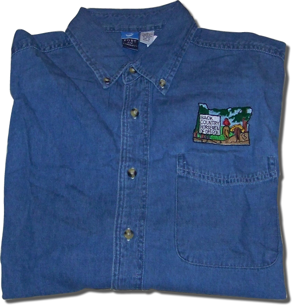 Denim Button Down Work shirt - Indicate size adult men's - $30.00